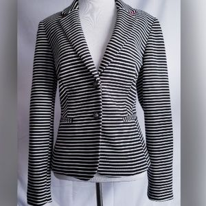 NWT INC WOMENS BLAZER BLACK WHITE STRIPE 10P